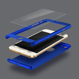 Wholesale Plastic Covered - Ultra-thin Hybrid 360 Degree Full Body Protective Case Cover with Tempered Glass Screen Protector for Apple iPhone 6 6S 7 Plus Phone Case