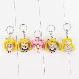 Wholesale sailor moon action figures - High quality Q version 5pcs lot sailor moon PVC Action Figure Toys Collection Model figures pendant keyring