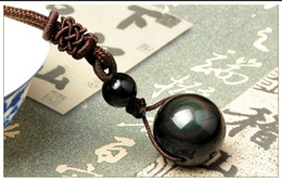 Wholesale Lucky Necklace Men - Necklaces & Pendants Natural Stone For Women and Men Black Obsidian Rainbow Eye Beads Ball Transfer Lucky Love