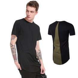 Wholesale Men High Fashion Dress Clothes - Kavsjoamber mens brand clothing fashion 2017 summer dress back patchwork design tops tees high streetwear male black white t shirt 3 colors