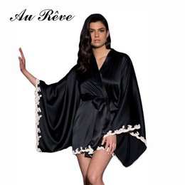 Wholesale Hot Sexy Woman Men Sex - Hot Lingerie Black Nightgown Women Sexy Satin Sleepwear Temptation Silk Bride Bathrobe Erotic Kimono Robe Sex Pajamas
