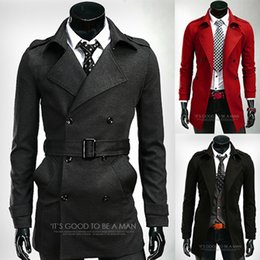 Wholesale Men Frocks - Wholesale- 2015 Winter Wool Frock Male Casaco Masculino men's double breasted trench coat Red Black Long Trench Coat Men With Belt