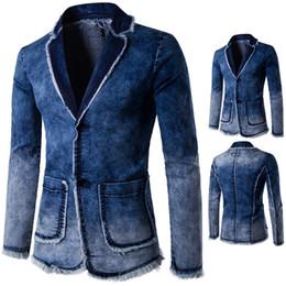 Wholesale Vintage Straight Jacket - New Blazer Men Casual Fashion Cotton Vintage Suit Jacket Male Blue Coat Denim Jacket