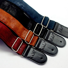 Wholesale Leather Bass Straps - 2017 Soft Durable Leather Straps for Acoustic Electric Guitars bass Adjustable Guitar Strap in stock free shipping