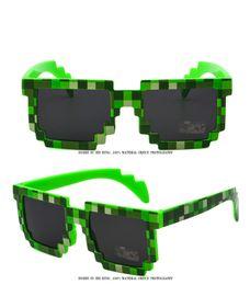 Wholesale Minecraft Glasses - 5 Color Square Hippie Pixel Sunglasses Black Green Woman Mens Fashion Mosaic Sun Glasses Minecraft Glasses With Bag Wholesale Factory Price