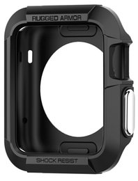 Wholesale Watch Casing Wholesale - Rugged Armor Apple Watch Case with Resilient Shock Absorption and 2 Screen Protectors Included for 42mm Apple Watch