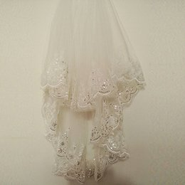 Wholesale Two Layer White Veil Rhinestone - 2018 Hot Sparkly White Ivory Wedding Veil New Lace Bling Appliques Bridal Veil Soft Tulle Fashion Real Picture Wedding Accessories CPA860