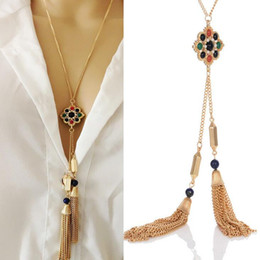 Wholesale Wholesale Long Beaded Necklaces - Long Tassel Pendant Fashion Beaded Stone Necklace Charms For Women Necklaces Friend Gift For Party Gold Chains