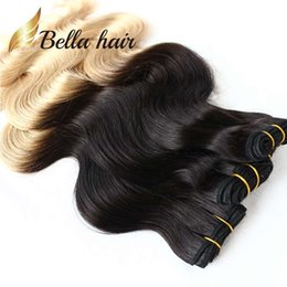 Wholesale Wavy Ombre Weave - Brazilian Ombre Hair Extensions Body Wave Wavy Human Hair Weft Hair Weaves Queen Quality Free Shipping