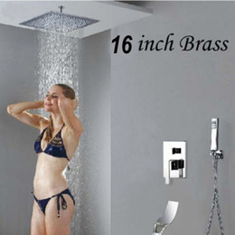"""Wholesale Wall Mount Taps - Ceiling Mounted 16"""" Rain Shower Head Valve Mixer Tap Waterfall Spout Hand Showe"""