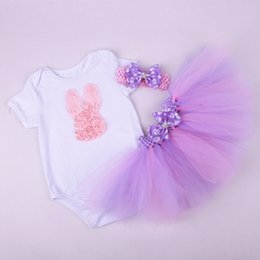 Wholesale Wholesale Organic Baby Rompers - European style children easter holiday clothes sets infant baby girl bunny rompers+tutu skirt+headband 3pcs sets newborn soft cotton clothes