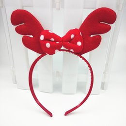 Wholesale Manufacturers Christmas Decorations - Red antlers buckle supply new Korean version of the headband Christmas party decorations holiday gifts manufacturers wholesale
