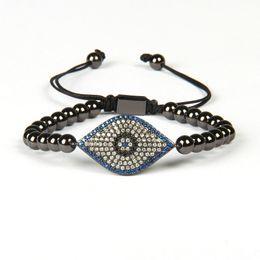 Wholesale turkish beads - New Fashion Jewelry Wholesale 10pcs lot 6mm Brass Beads with Classic Micro Pave MultiColor CZ Turkish Eye Braided Bracelets