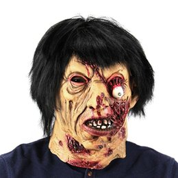 Wholesale Haunted House Masks - Halloween Haunted House Horror Vampire Adult Infected Zombie Mask Scary Costume party Props Costume Screaming Corpse Head Mask