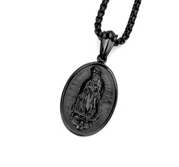Wholesale Catholic Mary Necklace - 2017 Stainless Steel Men Golden Steel Round Virgin Mother Mary Pendant Necklace Hip Hop Catholic Bless Chain Rock Jewelry