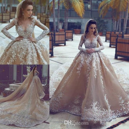 Wholesale Online Skirt - 2018 New Beading Ball Gown Wedding Dresses Online with Rhinestones Beaded Long Sleeve Sheer Neck Wedding Gowns Sale Lace up Back