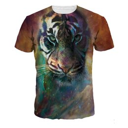 Wholesale Tiger Digital Printed T Shirts - Hot Sale Star Tiger Digital Men's T-Shirts Fashion All-Match Short Sleeve Sports Men's Tees Breathable Teenager T-Shirts Tops