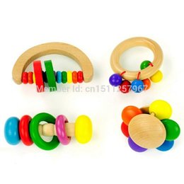 Wholesale Kids Wooden Musical Instruments - Wholesale- Kid Baby Gift Edcuational Musical Instrument Handbell Bell Rattle Toy Wooden FZ1711 XufzFN