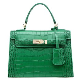 Wholesale Handle Gift Bags - Fashion Women Alligator PU Top Handle Satchel Handbag Crocodile PU Tote Purse shoulder bag for women brithday gift cross-body bag