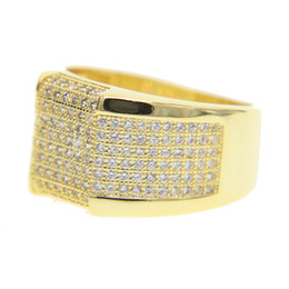 Wholesale Mens Gold Plating Rings - FACTORY top quality AAA cubic zirconia cz hip hop bing big gold mens rings micro pave cz engagement ring for men
