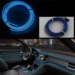 Wholesale Inverter Neon - Car Styling Ambient Light Interior Decoration Light EL Wire Easy Sew Flexible Led Neon Strip 12V Inverter Driver 1mete