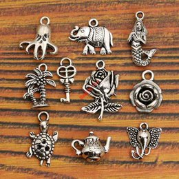 Wholesale Tibetan Key Charms - Wholesale- Mixed Tibetan Silver Plated Key Mermaid Flower Tree Elephant Charms Pendants Turtle Jewelry Making Diy Charm Craft Handmade