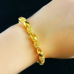 Wholesale Brass Filigree Beads - 8.4 Inch Beads Filigree Chain Hollow Bracelet 18K Yellow Gold Filled Charm Jewelry for Women