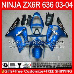 Luzes ninja zx6r on-line-8Gifts 23Colors kit Para KAWASAKI NINJA ZX 636 ZX 6R 03-04 600CC azul claro 29NO48 ZX-6R 2003 2004 ZX-636 ZX636 ZX6R 03 04 Carenagem Carenagem