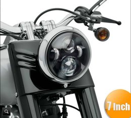"Wholesale Hid Lights For Motorcycles - 7"" Motorcycle Black Projector Daymaker HID Hi Lo LED Light Bulb Headlight for Harley Davidson Softail Touring"