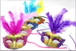 Decoraciones mini máscara online-En venta Supper Mini Mask Mascarada veneciana Máscara de plumas decoración del partido lindo regalo de boda carnaval Mardi Gras Prop color de la mezcla