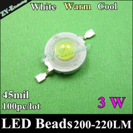 Wholesale Led Beads 9w - Wholesale- 100pc 3W High Power led Chip 45MIL LED Diodes Lamp Beads 200-220lm,WarmWhite cold white for 3W 6W 9W 12W LED Bulb Light freeship