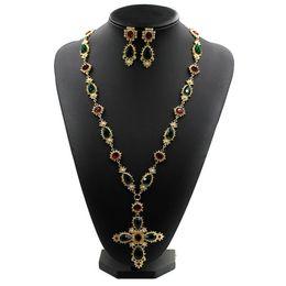 Novo design famoso cristal Austríaco corrente de Metal colorido pedra pérola cruz camisola longa colar vintage barroco colares frete grátis de