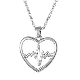 Wholesale Cute Handmade Designs - Fashion Simple Design Handmade Heart Shape Lifeline Pulse Heartbeat Electrocardiogram Cute Silver Plated Stainless Steel Pendant Necklace