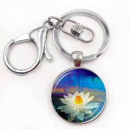 Wholesale Photo Jewelry Cabochon - Fashion key chain Mandala Photo Art Glass Cabochon Pendant Keychain Sacred Geometry Yoga Om New Fashion Jewelry