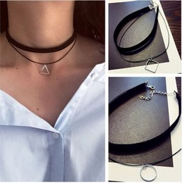 Wholesale Geometric Choker - N757 Multilayer Chokers Necklaces For Women Triangle Geometric Pendant Necklace Collares Fashion Jewelry Bijoux Colar 2016