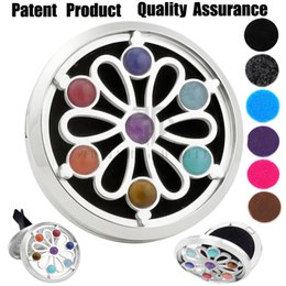 Wholesale Chakra Oils - 38mm Silver Flower Chakra Car Diffuser Locket Magnet 316 Stainless Steel Car Aroma Locket Free Pads Essential Oil Car Diffuser Lockets