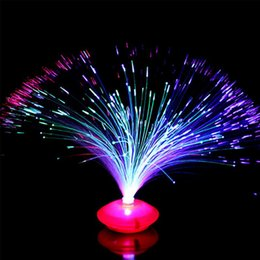 Wholesale Fiber Decor - Wholesale- Christmas Party Bar Decor Beautiful Romantic LED Lamp Color Changing LED Fiber Optic Night Light Lamp Small Night Light