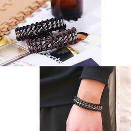 Коричневые всадники онлайн-Холодный металлический кожаный браслет мужской плетеный браслет, черные коричневые браслеты старинные украшения для ковбойских всадников Harley