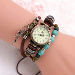Wholesale Womens Watches Leather Strap - Watches for Women PU Leather Strap Bracelets with Beads Pendant Womens Watch Quartz Movement Vintage Alloy Case