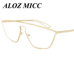 Wholesale Titanium Alloy Eyeglasses Frame - NEWEST Fashion Women Cat Eye Eyeglasses Frame Brand Design Metal oversized Goggles 2017 Good Quality Glasses A091