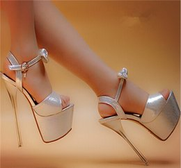 Wholesale Super High Heels 16 Cm - HOT!! 2016 high quality new sexy super high heel 16 cm thick silver bottom waterproof computer wedding shoes bride 17 cm sandals