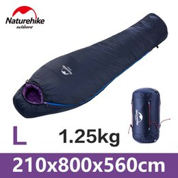 Wholesale Compression Bag Camping - Wholesale- NatureHike Ultralight Sleeping Bag Mountain Equipment Winter Cotton Filler Light Mummy Compression Outdoor Camping Hiking Bags