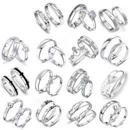 Wholesale Engage Rings - Fashion 30 pairs Different Design 925 Silver Lovers Zircon Opening adjustable Ring Jewelry For Wedding Engaged Couple Ring Wholesale Pair