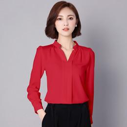 Wholesale Red Chiffon Shirt - Long Sleeve Blouses V-Neck Chiffon Shirt Women Fashion Sexy Blouse Lace Top Femme Dentelle Plus Size Blusas Clothing 50P0107