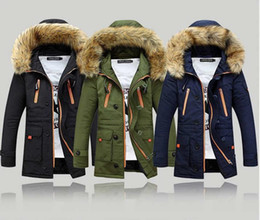 Wholesale Long Heavy Hair - The man winter selling high quality cotton man with thick heavy hair collar hooded jacket long collars cotton-padded jacket in the wholesale