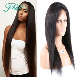 "Wholesale Yaki Wig 16 Inches - Yaki Straight Heat Resistant Lace Wigs African Brazilian 130% Density #1B Lace Front Wigs For Black Women 8""-32"" Inch"