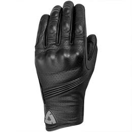 Wholesale Gloves Genuine Leather - Wholesale- 2016 New Summer Breathable Revit Motorcycle Glove Black Genuine Leather Motorbike Gants Moto GP Off Road Racing Gloves Men