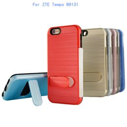 Wholesale Boost Cards Wholesale - For ZTE Tempo N9131 boost For ZTE Avid 4 MetroPCS Dual Layer protection Polish Brushed Hybrid Armor Kickstand Case credit card slot