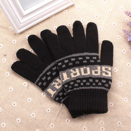 Wholesale Korean Fingerless Gloves - Wholesale- Male Knitted Mittens Warm Women Full Finger Gloves Korean Fashion Men's Autumn Winter Thicken Warm Glove Sprots