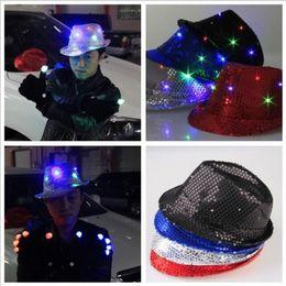 Wholesale Led Fancy Lights - 7 Color Flashing Light Up Led Fedora Trilby Sequin Unisex Fancy Dress Dance Party Hat LED Unisex Hip-Hop Jazz Lamp Luminous Hat